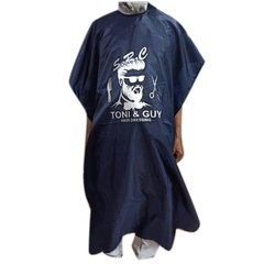 Navy Blue Printed Polyester Salon Apron