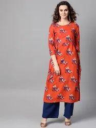 La Firangi Women Orange & Blue Floral Print Straight Kurta