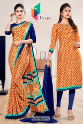 Brown Blue Premium Italian Silk Crepe Saree For Factory Uniform Sarees