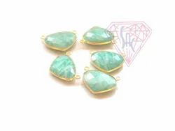 Stylish Amazonite Gemstone Bezel Connector With Gold Plated