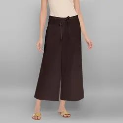Janasya Women's Brown Pure Cotton Palazzo Pant (BTM040)