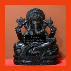 Pure Black Marble Ganesh Statues