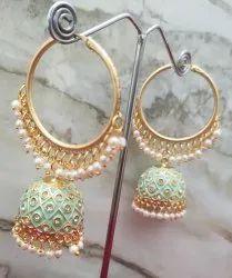 Brass Earrings AD Zhumka With Bali