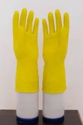 Yellow Unisex Household Rubber Hand Gloves, Size: Medium