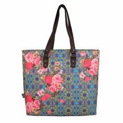 Cool Blue And Pink Flowery Designer Womens Tote Bag