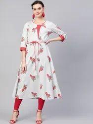 La Firangi Women Grey & Pink Floral Print A- Line Kurta With Belt