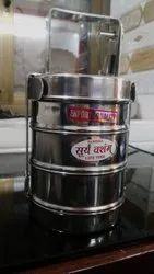 Silver Round Suryavansham Stainless Steel Patti Tiffin With 3 Containers, For Home, Thickness: 22 Gauge