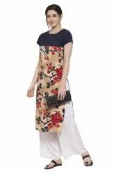 Women Printed  Crepe Straight Kurtis(Multy)