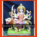 Color Coated Marble Durga Statue