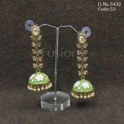 Traditional Stone Studded Meenakari Jhumka Earrings