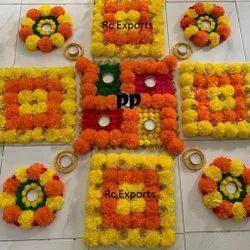 Flowers,Beads And Lace Flower Rangoli Mat With Diya
