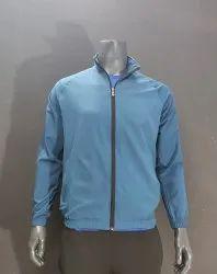 Polyester,Nylon Full Sleeves Men Light Blue Sports Jacket