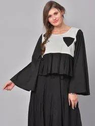 La Firangi Women Black & White Colourblocked A-Line Kurta