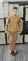 BROWN Silk Mens Kurta Jacket, Size/Dimension: Medium, Size: 38.0