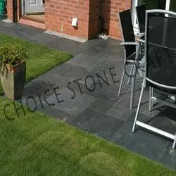 Grey Black Slate Stone Natural Tiles, Thickness: 20mm