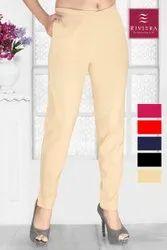Riviera Plain Ladies Cotton Stylish Pant, Waist Size: 30.0