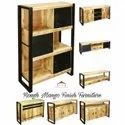 Rough Mango Solid Wood And Metal Finish Aara Finish Industrial Furniture