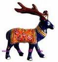 Nirmala Handicrafts Exporters Metal Deer Embossed Handpainted Handicraft Decorative Item