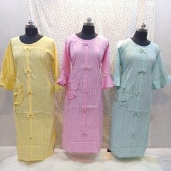 Cotton Casual Wear Bell Sleeve Fancy Kurti, Size: S - XXL