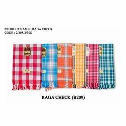 Raga Check Cotton Towel, Rectangular, Size: 35x70 Inches