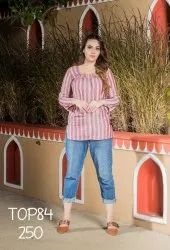 LA FIRANGI PEACH COLOR STRIPED PRINTED TOP