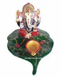 Metal Meenakari Deepak Leaf Ganesha Statue Enamel Work God Idol Figurine