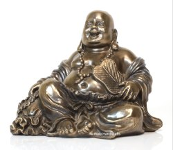 Copper Finish Laughing Buddha Happy Men Statue Feng Shui God Idol Figurine