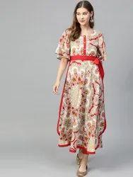 La Firangi Women Cream-Coloured & Red Printed A-Line Kurta