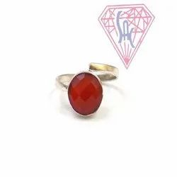 Carnelian Gemstone Round Shape Ring with Silver Plated