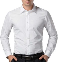 Cotton Plain Mens White Formal Wear Shirt, Machine wash