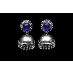 Silver Oxidized Stone Earring