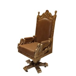 Leather Wooden Revolving Maharaja Chair