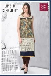 Casual Wear Straight Designer Rayon Cotton Kurti, Size: Medium, Wash Care: Machine wash