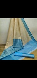 Pure Cotton Block Prints tavchhiv silk saree, 6.3 m (with blouse piece)