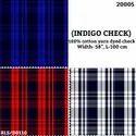 Indigo Check Cotton Yarn Dyed Check