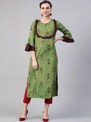 La Firangi Women Green & Burgundy Printed Straight Kurta