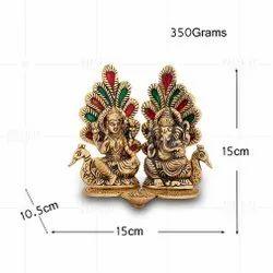 Gold Plated Laxmi Ganesh Pankh Meena