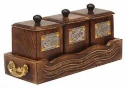 Tea coffee sugar box wih tray