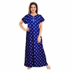 Ladies Blue Printed Cotton Nightgown, Free Size