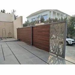 Brown Wooden Motorized Telescopic Sliding Gate, For Residential