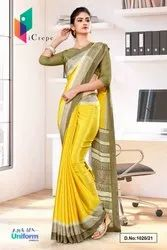 Yellow Beige Premium Italian Silk Crepe Saree For Teachers Uniform Sarees