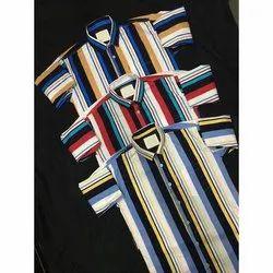 Collar Neck Casual Wear Mens Cotton Striped Shirt