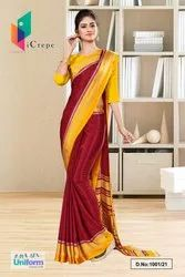 Marron Yellow Italian Silk Crepe Saree Salwar Combo For School Uniform Sarees 1001