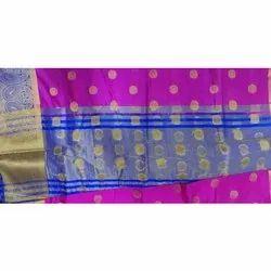 Festive Wear Pink Banglori Silk Booti Saree, With blouse piece
