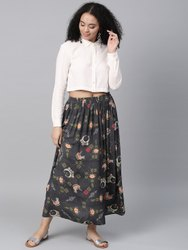 La Firangi Women Off-white & Charcoal Grey Solid Shirt With Printed Skirt