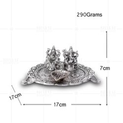 Silver Plated Laxmi Ganesh Thali Deepak