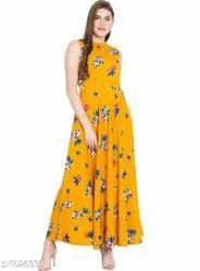 Western Wear Musturd Womens Printed Yellow Crepe Dress