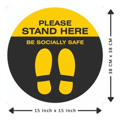 Anti Skid Laminated Stand Here Floor Sticker