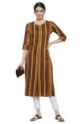 Women Striped Rayon Straight Kurta's(Brown)