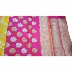 6.5 m Party Wear Pure Silk Hand Woven Tilfi Work Saree, With Blouse Piece